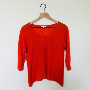 Eileen Fisher Orange Linen Sweater Petite Small